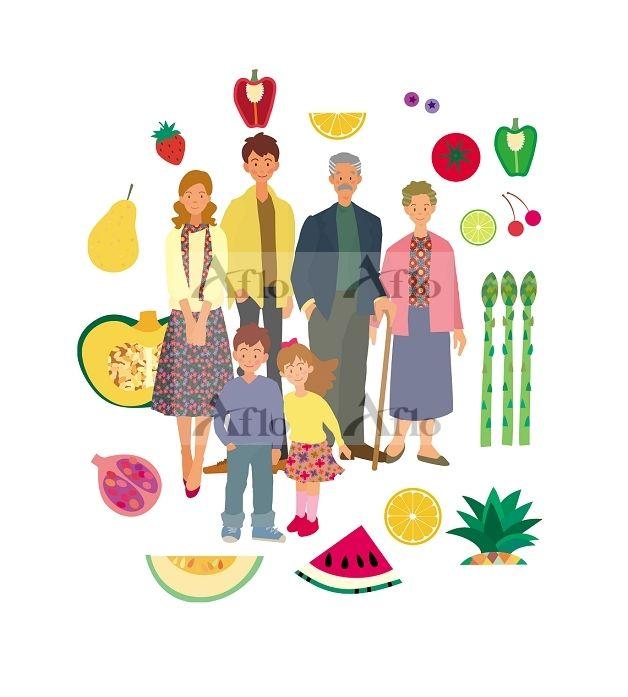 イラスト 家族 ファミリー 食事 シニア 三世代 健康 子供 イラスト デザイン 写真 素材