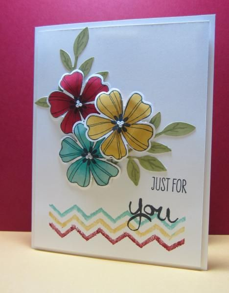 Stamps: SU Work of Art, Flower Shop;  Accessories: Sizzix Little Leaves Die, SU Pansy Punch