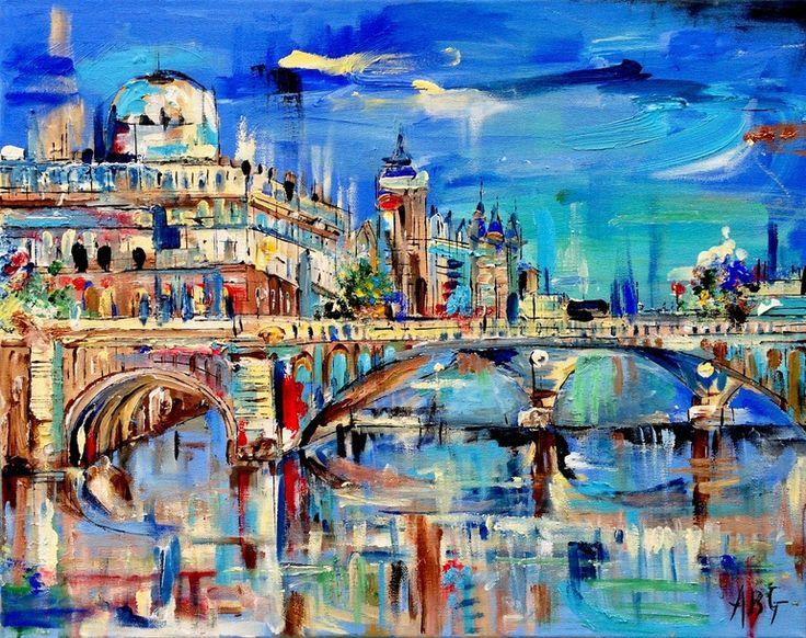 """Saatchi Online Artist: Anna Gammans; Acrylic 2013 Painting """"The River Seine, Paris """""""