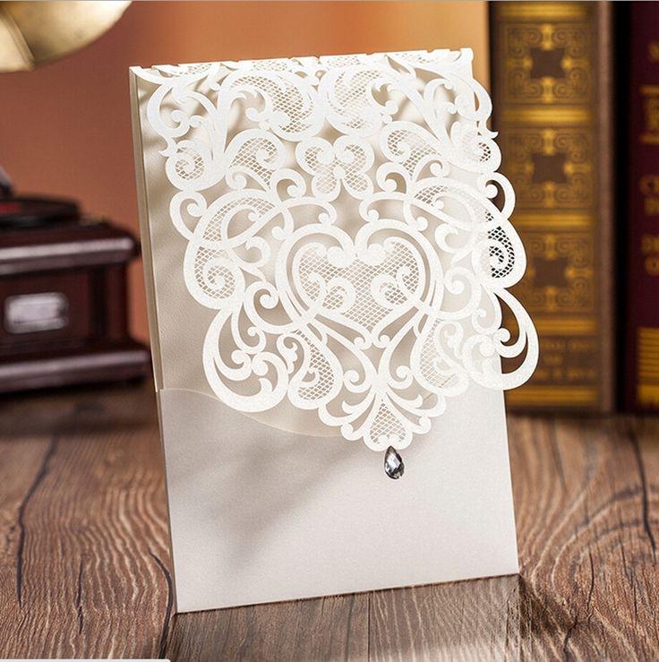 100 pcs Vertical branco estilo clássico engajamento dos convites do casamento cartões personalizados com strass & flor de corte a Laser CW5001 em Decoração de festa de Casa & jardim no AliExpress.com   Alibaba Group
