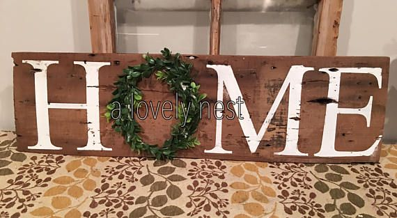 Barnwood Home sign with wreath sign wirh boxwood wreath rustic