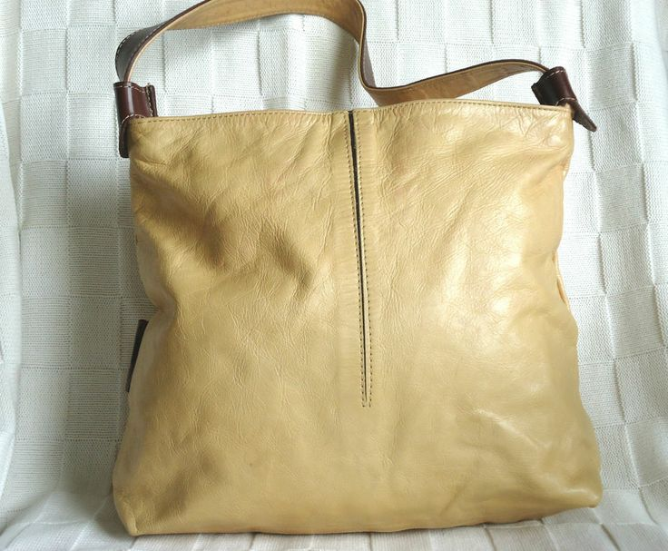 CUIRO' TS TAN LEATHER SLOUCH BAG HOBO HANDBAG SHOULDER BAG MEDIUM SINGLE STRAP