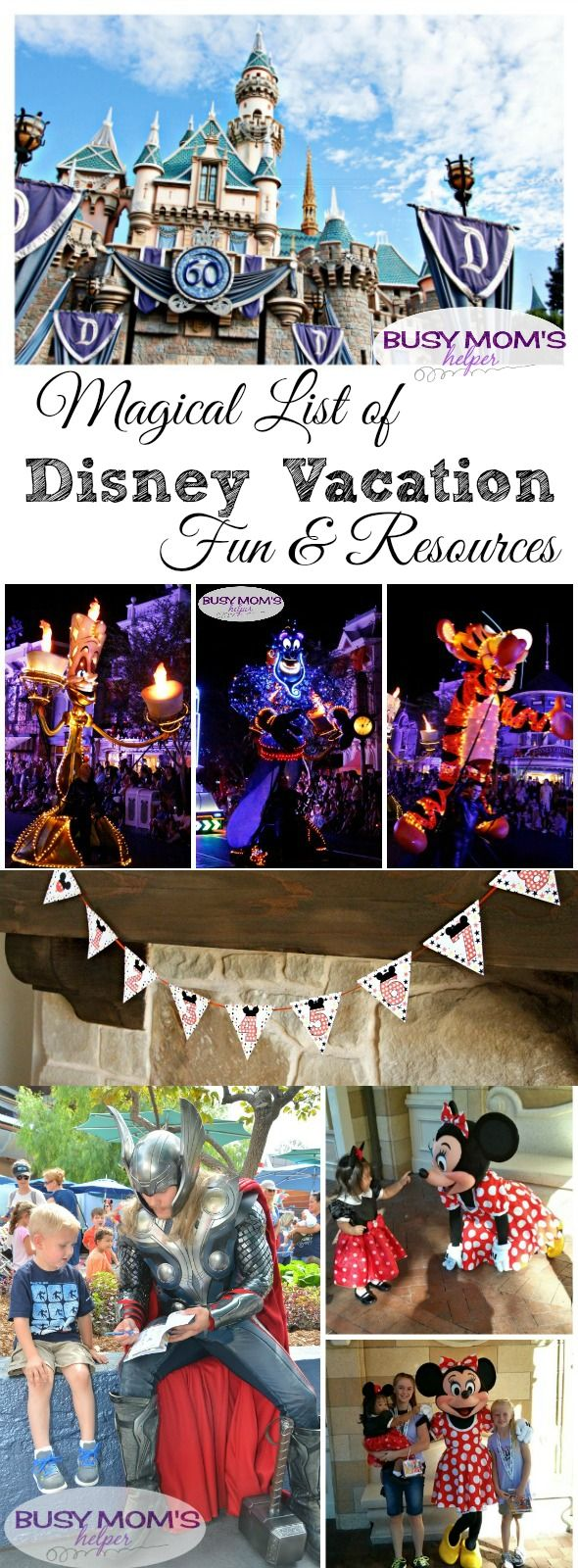 Magical list of disney vacation fun resources by busymomshelper com lots of