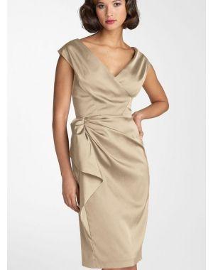 V-Nek Elegant|Bescheiden Knie-Lengte Taf Moeder van de Bruid Mode