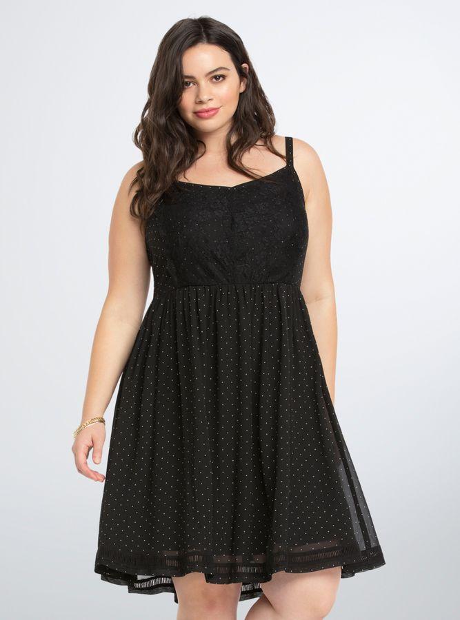 Torrid Polka Dot Lace Skater Dress