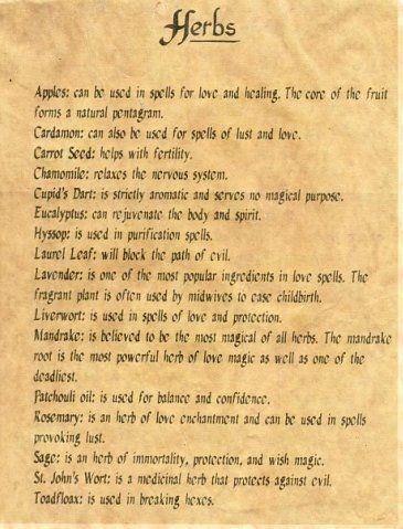 Herbs and their magickal uses