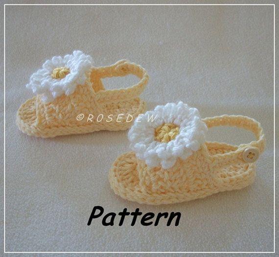 Instant Download for PDF Crochet PATTERN: Back Strap Summer Baby Sandals for BOY…