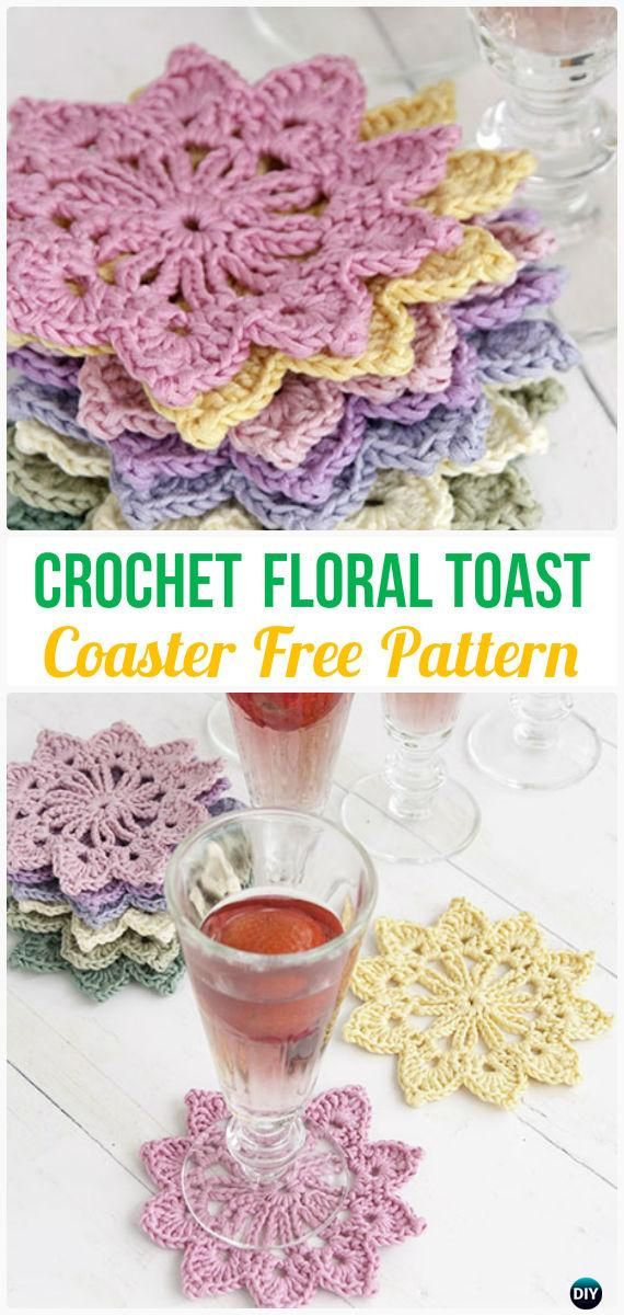 Crochet Floral Toast Coaster Free Pattern - Crochet Coasters Free Patterns