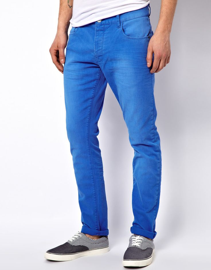 $37, Blue Chinos: !Solid Solid Slim Fit Chinos. Sold by Asos. Click for more info: https://lookastic.com/men/shop_items/312852/redirect