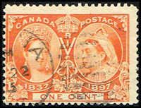 Canada #51 Stamp for sale  1 cent Diamond Jubilee Stamp  60th Year of Queen Victoria's Reign  N CA 51-1