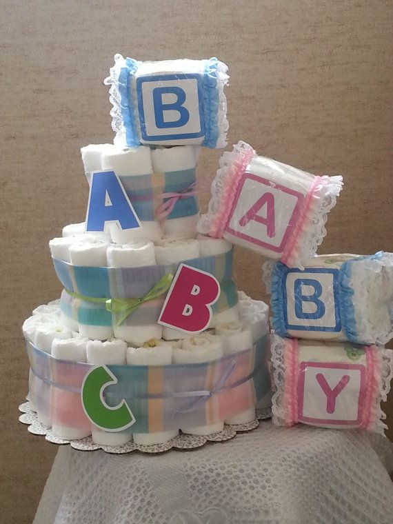 3 Tier Diaper Cake ABC Alphabet Baby Shower Gift by delynmonet