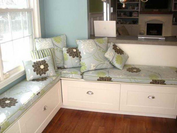 Furniture:Stylish Ikea Banquette Design Ideas With Pillow Flower Motif Stylish IKEA Banquette Design Ideas