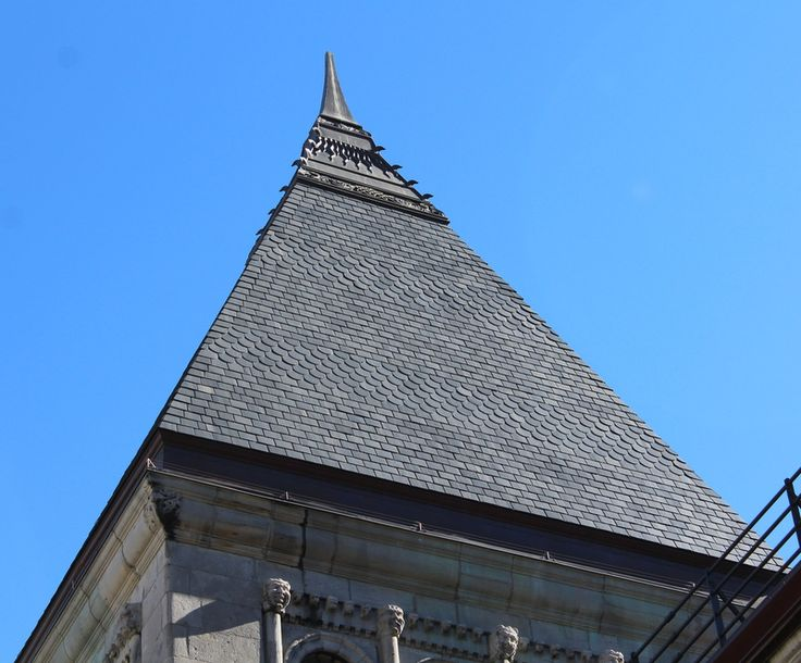 Redpath Hall at McGill University.  Opened in 1893. North Country Unfading Black slate roof with scalloped slate pattern.