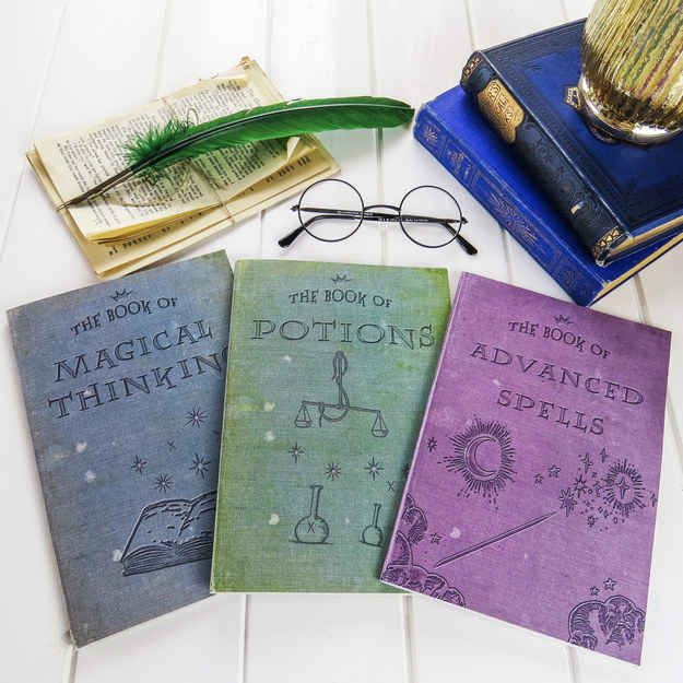 Notebooks that look like they belong in the Ravenclaw common room.
