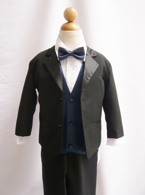 Formal Boy Tuxedo Black with Blue Navy Vest for Toddler Baby Ring Bearer Easter Communion Bow Tie Size 2, 3, 4