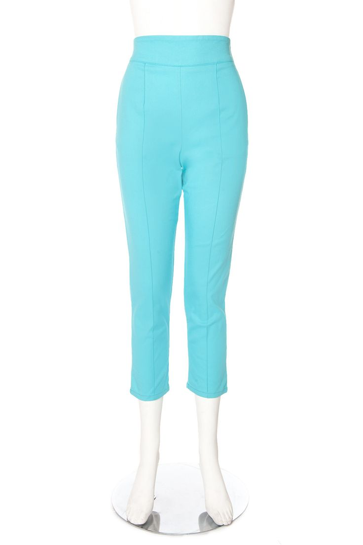 Laura Byrnes Plus Size High Waisted Cropped Trousers in Blue Twill | Pinup Girl Clothing