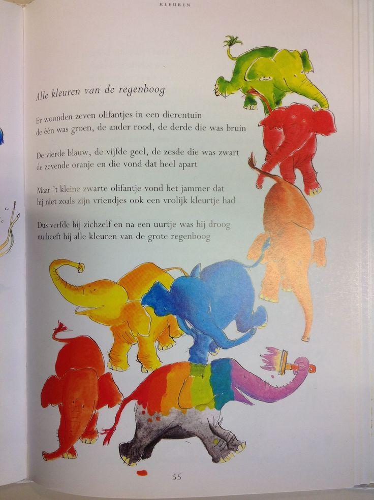 Versje: Alle kleuren van de regenboog blz. 55 Uit het grote versjesboek door Marianne Busser/ Ron Schröder