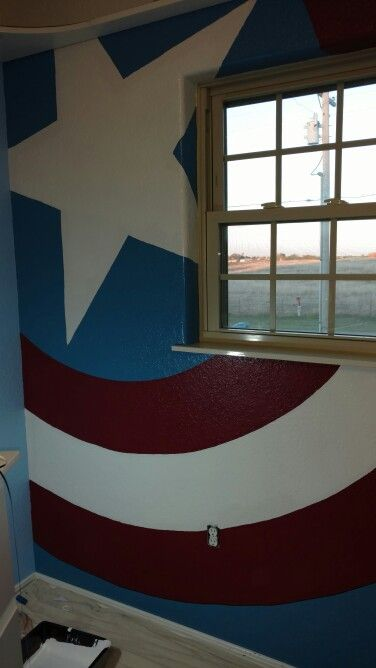 Our Captain America bedroom for our little super hero.