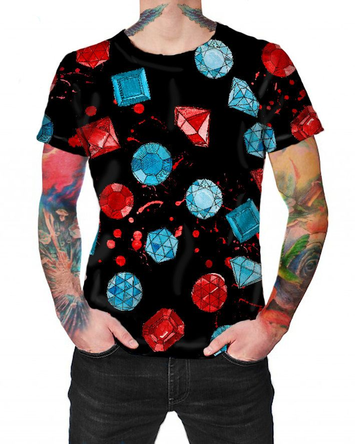 Gemstones Black - T-shirt - Full print Shirt by ArtefactoStore on Etsy