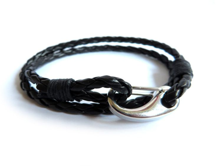 Bracciale gancio acciaio inossidabile UOMO pelle nero intreccio treccia, by «:::Mosquitonero Shop:::», 8,99 € su misshobby.com