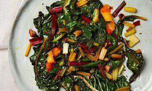 Rainbow chard with orange, garlic and caraway