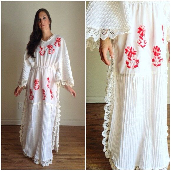 Mexican Dress, White Mexican Dress, Oaxacan Embroidery, Peasant Dress, Hippie…