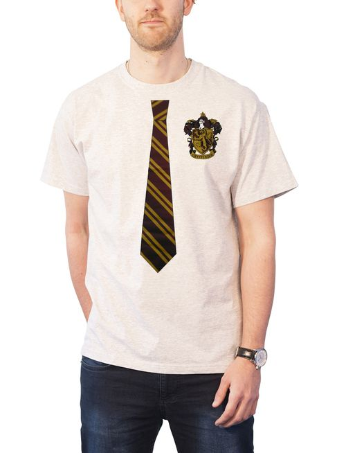 Harry Potter Hogwarts Tie and Crest logo new Official Mens White T Shirt