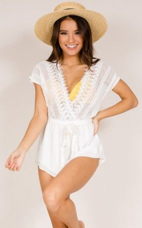 Reign Down Beach Playsuit in White