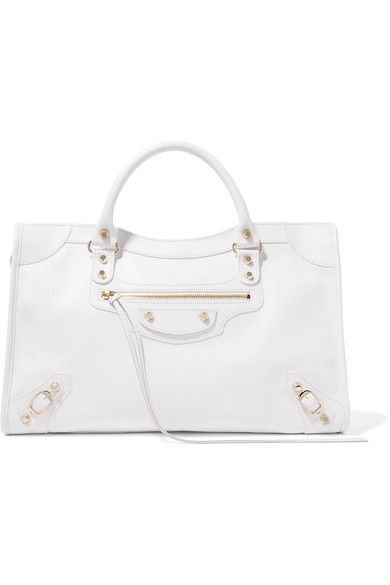 White textured-leather (Calf) Two-way zip fastening along top Designer color: Blanc Optique  Comes with dust bag Weighs approximately 2lbs/ 0.9kg Made in Italy