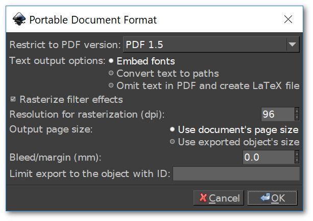 PDF save menu in Inkscape | Create a Python Hello World source code