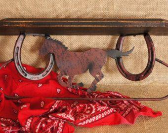 Rustic Wood Shelf - KitchenTowel Holder -  Cowboy Decor - Horse Decor - Horse Shoe Decor - Cabin Decor - Southwestern Towel Bar - Boys Room