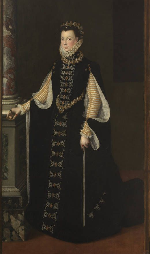 "Dress.- Atribuido a Sofonisba Anguissola. ""Isabel de Valois sosteniendo un retrato de Felipe II"" (1561 - 1565). Museo Nacional del Prado, Madrid."