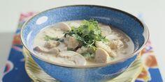 Boodschappen - Thaise rijstsoep met kip en champignons