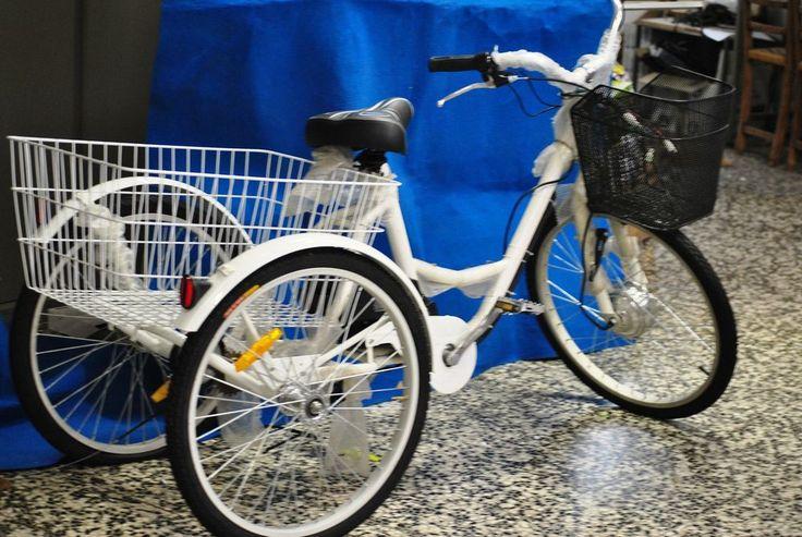 bici  bicicletta elettrica tre ruote  cestone posteriore  e ruote ammortizzate