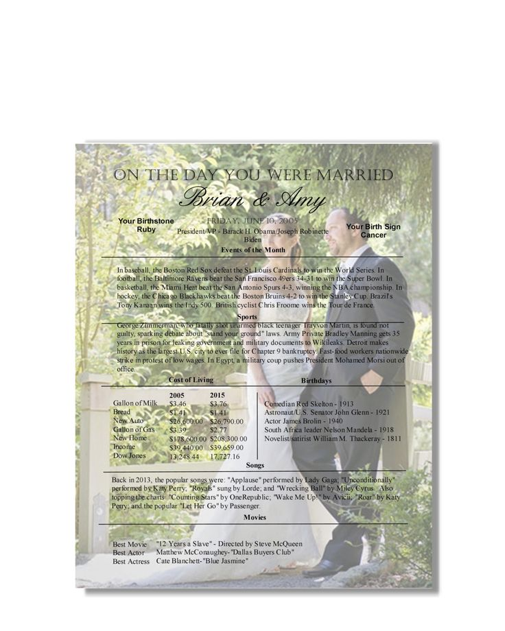Tenth Anniversary Gift - 10 Year Anniversary - Personalized Anniversary Gift - On The Day You Were Married Keepsake by Scrapits on Etsy https://www.etsy.com/listing/232085064/tenth-anniversary-gift-10-year
