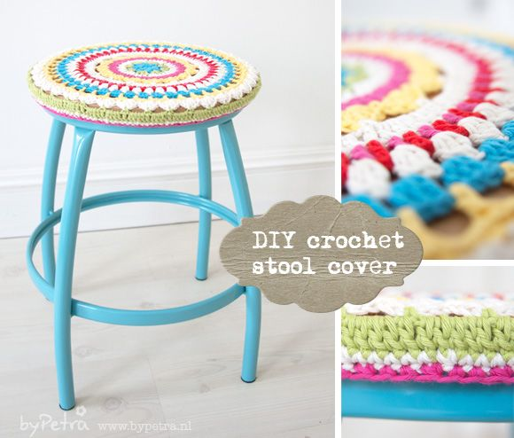 DIY crochet stool cover || by Petra. And apparently now I need to find a cool stool to paint, because this is fantastic!