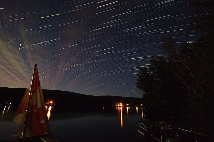 Some #StarTrails and a #ShootingStar over #RushfordLake in #NewYorkState #NYS #Photography @Freaktography