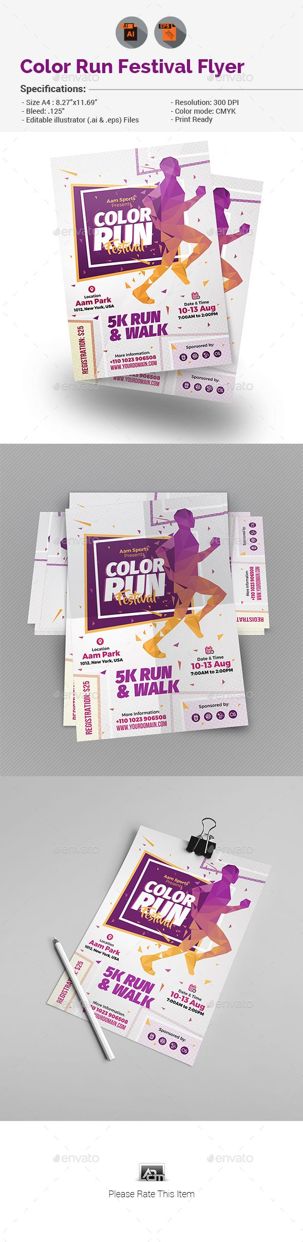 Color Run Festival Flyer Template — Vector EPS #event #sport • Download ➝ https://graphicriver.net/item/color-run-festival-flyer-template/19287525?ref=pxcr