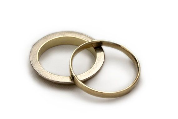 Gold wedding band set yellow and white gold by CADIjewelry on Etsy, $880.00