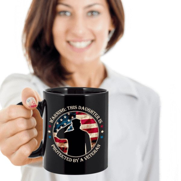 Veteran's Daughter Gift warning This Daughter is Protected By A Veteran Proud Veteran Daughter Gift Ceramic Coffee Mug Gift We create fun coffee mugs that are sure to please the recipient. Tired of boring gifts that don't last? Give a gift that will amuse them for years!A GIFT THEY WILL ADORE - Give them a mug to shou