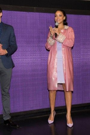Rihanna wearing Holly Fulton X Christian Louboutin Decollete 554 Suede Pumps, Holly Fulton Fall 2015 Pink Latex Coat and Holly Fulton Fall 2015 Lilac Dress