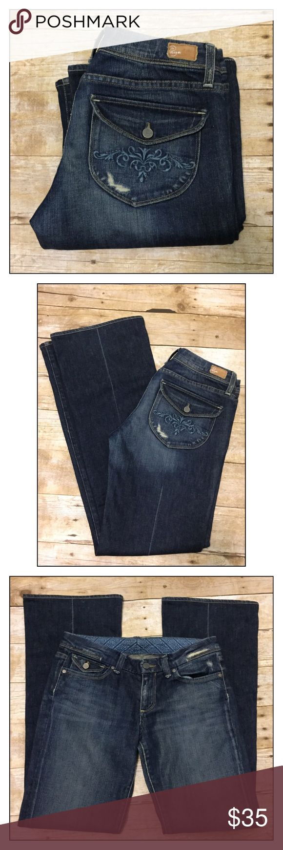 ❤️ Paige Pico Bootcut Jeans ❤️ SALE ❤️ ❤️ Paige Pico Bootcut Jeans ❤️ size 29x33.5 waist measures at 16 inches. These have a beautiful detail on rear pockets and factory distress. Don't miss out on these GORGEOUS Pair of jeans!!!❤️ Paige Jeans Jeans Boot Cut