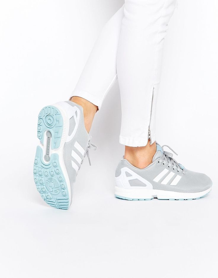 Image 1 of adidas Originals ZX Flux Gray & Blue Sneakers