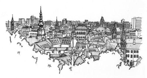June 21, 2017. Panorama of Bratislava, Slovakia. Drawing, markers