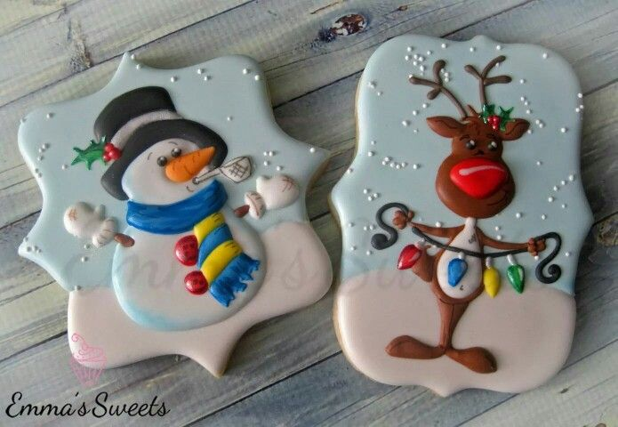 Emma's Sweets:  Reindeer & snowman.   Drawn with Character designs for Christmas.