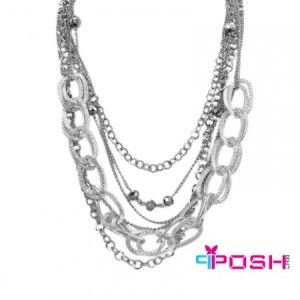 Eva POSH Necklace-POSH Eva Necklace,     Multi-strand necklace  Silver tone metal links