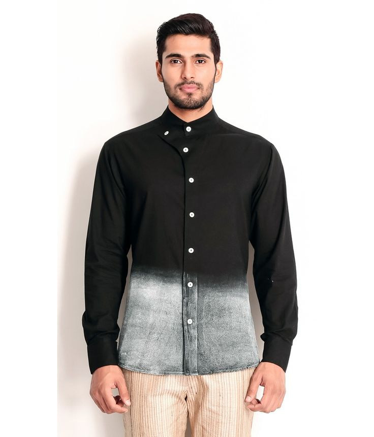 Samant Chauhan Black Cotton Shirt  with Ombre Technique, http://www.snapdeal.com/product/designer-wear-black-cotton-shirt/461621544