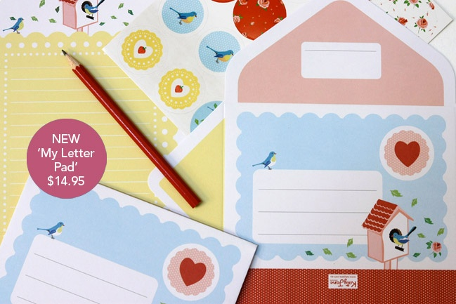 Katy Jane Designs Letter Writing Pad - Blue bird design