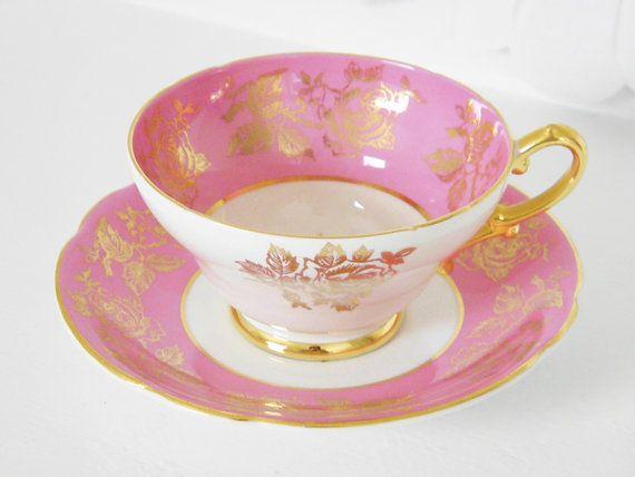 Vintage Pink Gold Gilded China Teacup & by GrandAntiqueDecor, $18.00