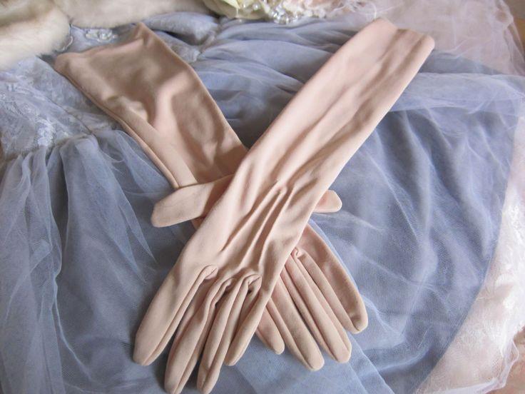 Vintage gloves, mid length gloves, nude gloves, evening gloves, vintage wedding gloves, rockabilly gloves, 1950s gloves, prom gloves, by thevintagemagpie01 on Etsy